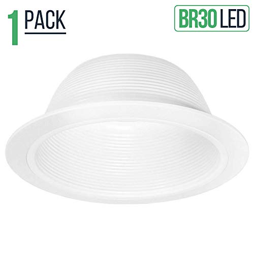 (Four Bros SB30/WHT Stepped Baffle Recessed Can Light Trim for BR30/38/40, PAR30/38, LED, Incandescent, CFL and Halogen, 6 Inch, White)