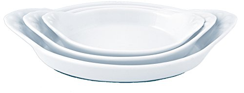 Eurita by Reston Lloyd Flame Safe Au Gratin Porcelain Pan, Set of 3, White