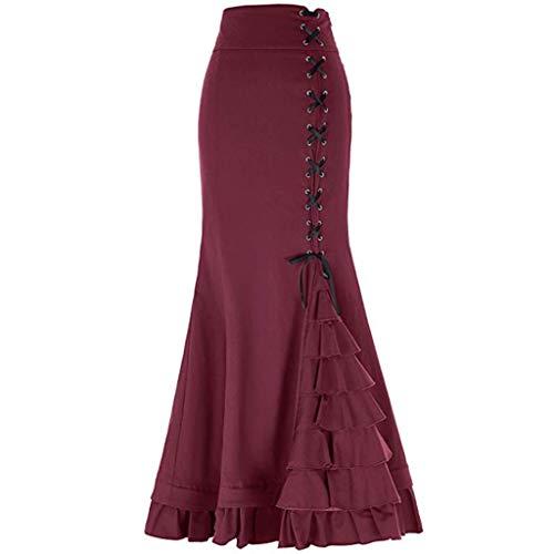 (Women's Mermaid Skirt,Sharemen Fashion Solid Color Retro Bandage Dress Sexy Belt Waist Layer Lotus Leaf Hem Skirt(Wine,XL) )