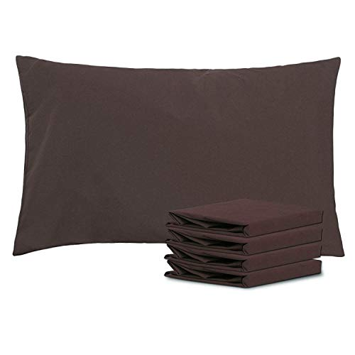 (NTBAY Queen Pillowcases Set of 4, 100% Brushed Microfiber, Soft and Cozy, Wrinkle, Fade, Stain Resistant, Queen, Chocolate)