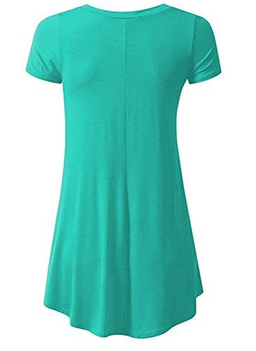 LemonGirl Women's Pleated Hem Blouse Tunics Green