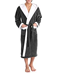 c13d02a77e David Archy Men s Hooded Fleece Double Layer Velvet Robe Full Length  Bathrobe