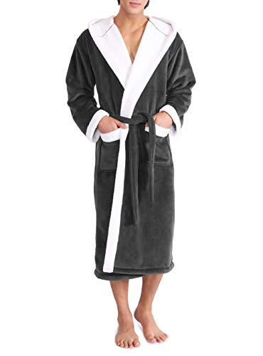 David Archy Men's Hooded Fleece Double Layer Bonded Velvet Robe Plush Soft Full Length Long Bathrobe (M, Dark Gray)