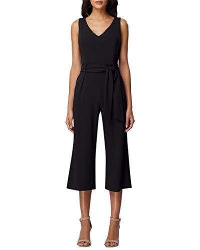 - Tahari ASL Women's V Neck Belted Cropped Wide Leg Jumpsuit, Black, 10