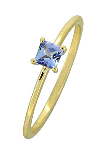 YoTreasure 0.30 Ct.Tanzanite Solid 10K Yellow Gold Princess Ring