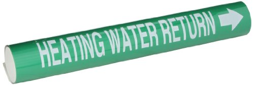 Legend Heating Water - Brady 5825-Ii High Performance - Wrap Around Pipe Marker, B-689, White On Green Pvf Over-Laminated Polyester, Legend
