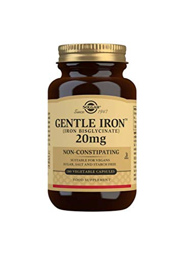 Solgar Gentle Iron (Iron Bisglycinate) 25mg, Non-Constipating, Non-GMO, 180 Vegetable Capsules