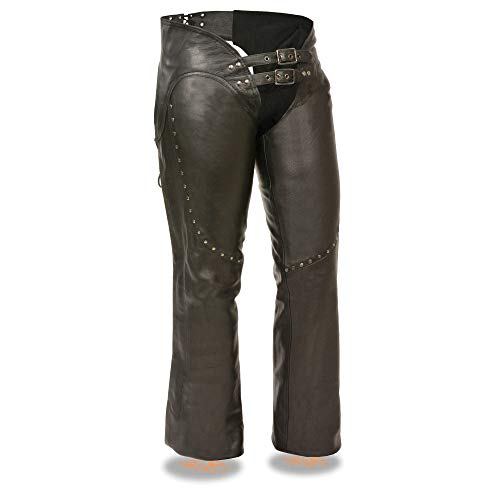 Chaps Motorcycle Pants Leather (Milwaukee ML1186-S-BLACK Women's Low Rise Double Buckle Leather Chaps, Small, Black)