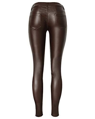 Caffè Coated Pieghe Elasticità Leggings Donna Jeans Qitunc Skinny Ecopelle Pu Matita Pantaloni paqtSPw
