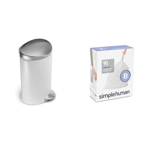 simplehuman 6 litre semi-round step can white steel | stainl