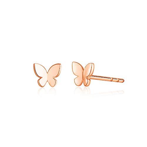 - Tiny Butterfly Earrings Sterling Silver Earrings Stud Earrings for Women Mini Dainty Earrings Rose Gold Earrings