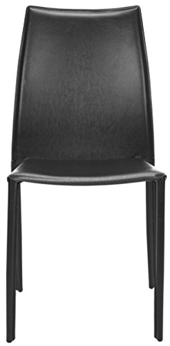 Safavieh Home Collection Aubrey Mid-Century Black Leather Side Chairs (Set of 2)