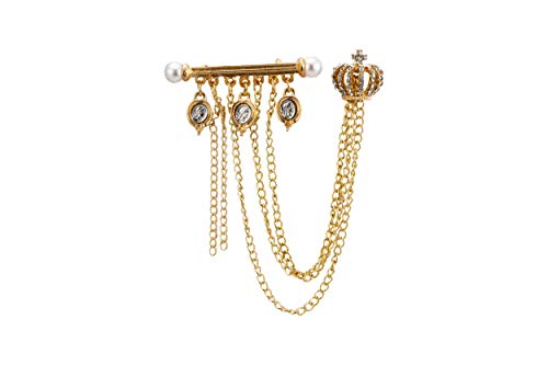 (Knighthood Gold Crown with Hanging Chains and Pearl Ending Gold Bar Detailing Brooch)