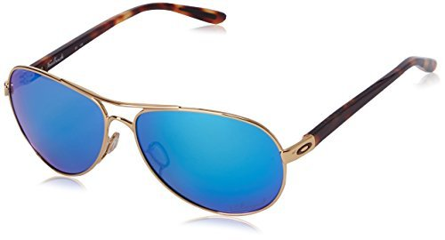 Oakley Feedback Sunglasses Polished Gold / Sapphire Iridium Polarized & Care - Issue Special Oakley