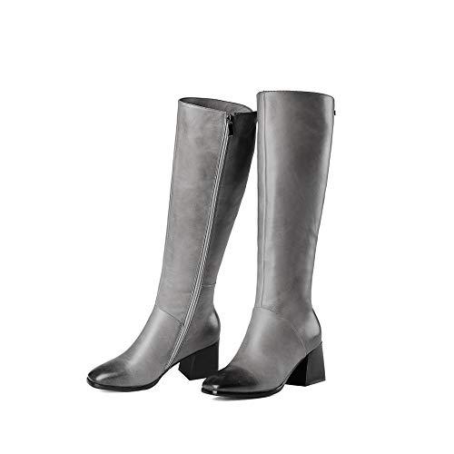 Femmes Bottes Pied carré Bottes de Longues Grey Talons Chaussures ErUTrnYB