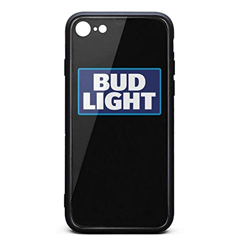YJRTISF iPhone 7/8 Case Shockproof Case Music Blues Glass Rear Cover 9H Tempered Glass Back Cover Bud-Light-Beer-Logo- Resistant Soft TPU Material Bumper for iPhone 7/iPhone 8