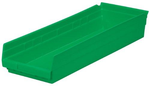 Akro-Mils 30184 24-Inch by 8-Inch by 4-Inch Plastic Nesting Shelf Bin Box, Green, Case of 6 ()