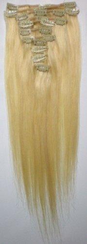 Angel_Halo 613# Bleach Blonde 14-26 Inches 70-100g 100% Remy Virgin Brazilian Human Hair Extension Straight Soft Silky Clip in Full Head Hairsalon (16'')