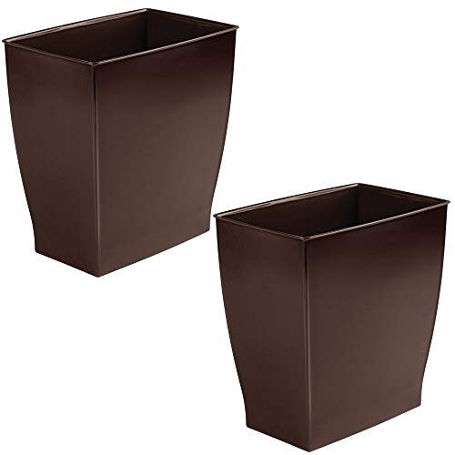 mDesign Rectangular Trash Can Wastebasket, Small Garbage Container Bin for Bathrooms, Powder Rooms, Kitchens, Home Offices - Shatter-Resistant Plastic, 2 Pack - Dark Brown