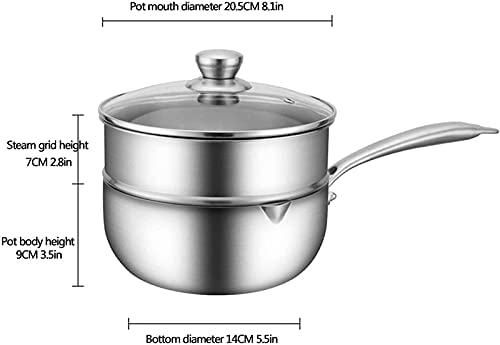 """31MrdrhMmCS. AC Pans for cooking Stainless Steel Steamer Pot Food Steamer Soup Pot Soup Pot Steamer Pot Pot Pot Kettle with Lid Milk Frying Pan Baby Double Layer 20cm    """"Welcome to our mallHappy shopping!Our products have been thoroughly tested, inspected and packaged before delivery.If you have any questions, please feel free to contact us so that we can provide you with the best service.""""NJOLG is committed to providing premium and long-lasting cookware, which inspires your passion for cooking.Are you sick and tired of your old steamer that keeps ruining your hard work? Looking for a solid steamer set that gets the job doneOur steamer can meet your complete cooking needs! You can use it as a pot or combine these components in different steamers. And make sure our steamer uses high quality stainless steel, providing you with a durable and healthy cooking tool. The ebb design of the steaming grill and the multilayer composite material bottom make the food evenly heated and delicious. It is also worth mentioning that the steamer can be compatible with a variety of cookers.Stainless Steel Steamer Pot, Food Steamer Cooking Pot Steamer Steamer Steamer Pot Steamer Boiler with Lid, Baby Kitchen Milk JugProduct Name: Multipurpose steamerProduct Material: SUS304 Stainless SteelProduct Layers: Single / Double Layer SteamerProduct Specification: 18/20 / 22cmSurface Technology: Wire Drawing Polishing TreatmentFeatures: Nonstick pan, fast heat conduction, less oily smoke, energy saving and high efficiencyScope: restaurants, hotels, householdsNote: If you have any questions about the order, please contact us via Amazon. We will get back to you within 24 hours. If you need more styles, you can search our LKDF brand. You will have a satisfactory answer. good day.Chaptersdescriptions off, selectedcaptions off, selectedThis is a modal window.If you are not satisfied with our products, please feel free to contact us, we will contact you within 24 hours. For more related product detai"""
