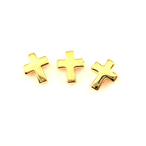 - 22K gold plated Sterling Silver Tiny Cross Connector Charm,Vermeil Small Cross Charm, Crucifix Rosary Charm, 7mm (Sold per 3 pieces)