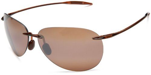 Maui Jim Sugar Beach Rimless Rectangular Polarized Sunglasses,Rootbeer Frame/HCL Bronze Lens,one size