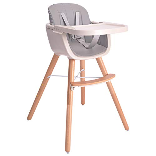 Baby High Chair, 3 in 1 Wooden High Chair with Removable Tray and Adjustable Legs for Baby/Infants/Toddlers