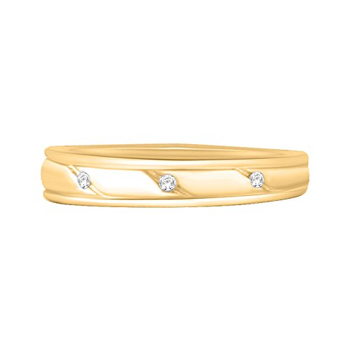 10k Yellow Gold 1/20 Ct Round Cut Natural Diamond Wedding & Anniversary Band