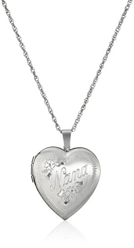 "Sterling Silver Heart ""Nana"" Locket Necklace, 18"""