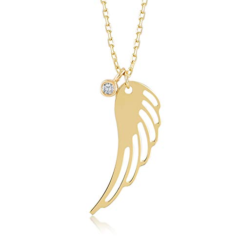 Gelin 14k Real Gold 0,01 ct Diamond Angel Wing Pendant Necklace for Women, A Perfect Surprise Gift for Her, 18 ()