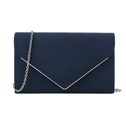 Charming Tailor Faux Suede Clutch Bag Elegant Metal Binding Evening Bag for Wedding/Prom/Black-tie Events - Navy Clutch Bags Evening