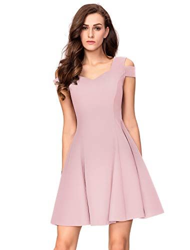 (InsNova Women's Cold Shoulder Little Cocktail Party A-line Skater Dress (Large, Blush Pink))