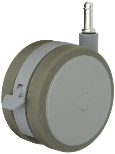 Shepherd Softech Series 125mm Diameter Soft Tread Unhooded Twin Thermoplastic Elastomer Wheel Caster with Brake, 7/16