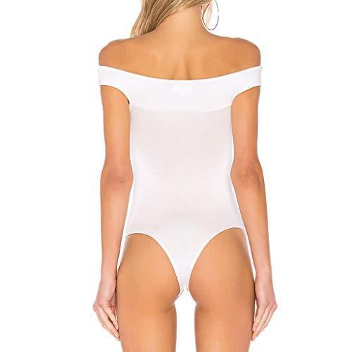 Tuta Combinazioni Stretch unita spalle da Party comode up Tuta Push donna Bianco Body senza spalle Sexy Amlaiworld maniche Tinta AqdZOA
