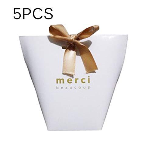 Winbang - 5 bolsas de regalo blancas con lazo, papel kraft ...