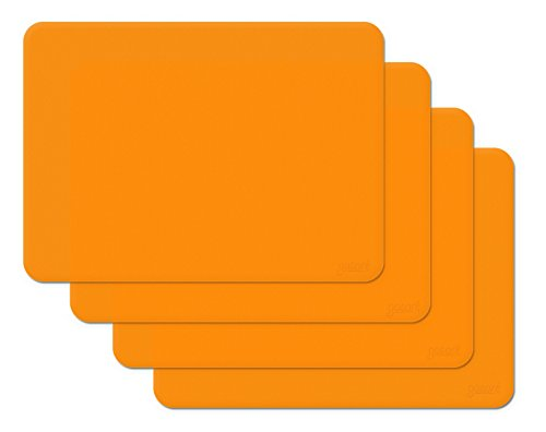Gasare, Silicone Placemats, Kids Placemats, Non-slip Waterproof, Very Flexible Silicone, Assorted Colors, Size 16 x 12 Inches, Set of (Orange Place)