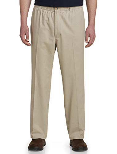 Harbor Bay by DXL Big and Tall Elastic-Waist Twill Pants - Updated Fit Khaki ()