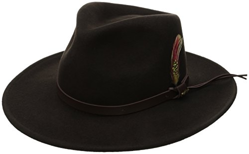 (Scala Classico Men's Crushable Felt Outback Hat, Chocolate, Large)