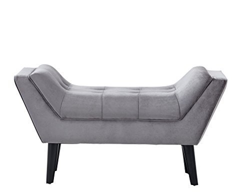 Andeworld Gray Fabric Bed Bench Upholstered Tufted Footstool Entryway Ottoman Bench One Seater - Upholstered Small Bench