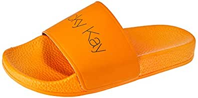 Nicky Kay Slides Women's Slippers, Orange, 6 US