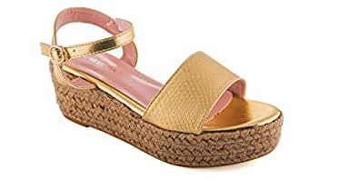 Bsea Gold Wedge Sandal For Women
