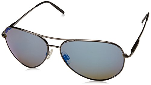 Titanium Aviator Sunglasses (Serengeti 8265 Medium Aviator Sunglass, Shiny Dark Gun Metal Frame, Polarized 555nm Blue Lens)