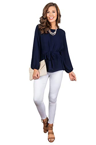 e2d84574a4dbee FALLINLOVE Womens Tops Casual Shirts Round Neck Long Sleeve Loose Fit Tunic Tee  Blouse with Belt
