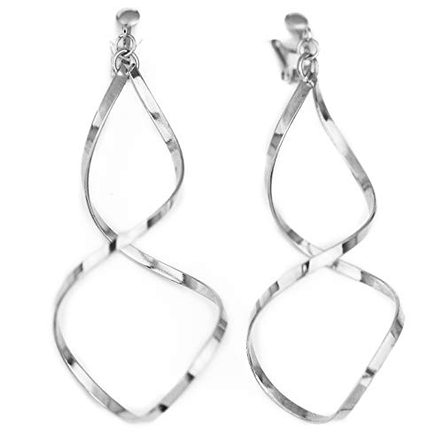 Spiral Geometric Clip On Earrings for Women Dangle Clip-on Earring Gift Set (Silver Spiral)