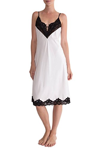 In Bloom by Jonquil Satin Midi Nightgown 98% Polyester 2% Spandex (M, Spring White)