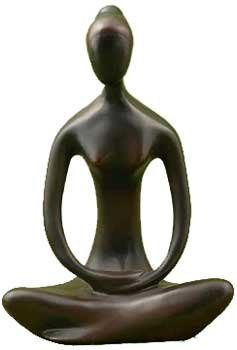 "AzureGreen Sitting Yoga Pose Divine Feminine Form Statue Bronze Colored Cold Cast Resin 8"" -  SY434"
