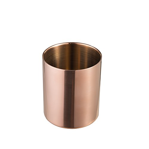 IMEEA Pencil Cup Holder Pen Pot Makeup Brushes Holder Desk Stationery Organizer Stainless Steel (Copper)