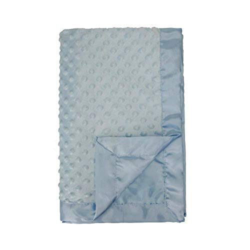 Pro Goleem Baby Minky Dot Blanket with Satin Backing for Girls and Boys (Blue, 30'' x -