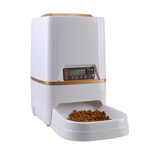 Automatic Cat Feeder Reviews - 6L Automatic Pet Feeder Cat Dogs Rabbits Mouse Bowl 4 Meals/Day Timer &Voice Recorder Timer Programmable,Food Dispenser Easy to Clean