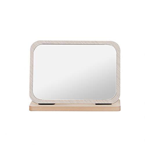 (SXHDMY-Makeup mirror Wooden Cross Section Light Color Folding Desktop Vanity Mirror Student Desktop HD Mirror 23x17cm)